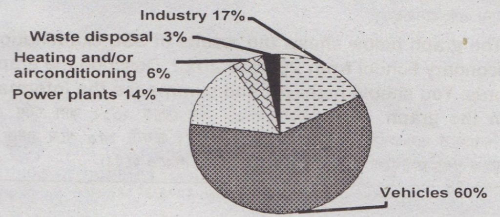 Describing the Pie Chart of The Sources of Air Pollution in A City